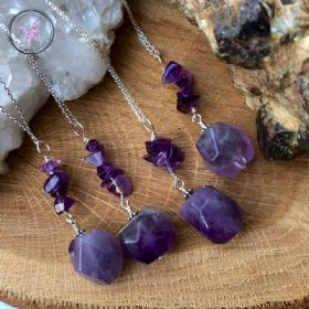 Amethyst Nugget Healing Pendant Necklace